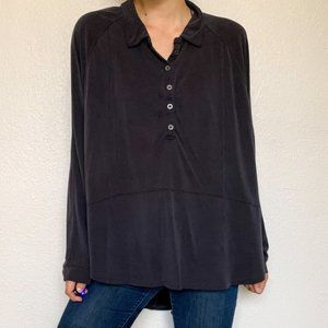 We the Free Oversized Washed Black Grey Blouse